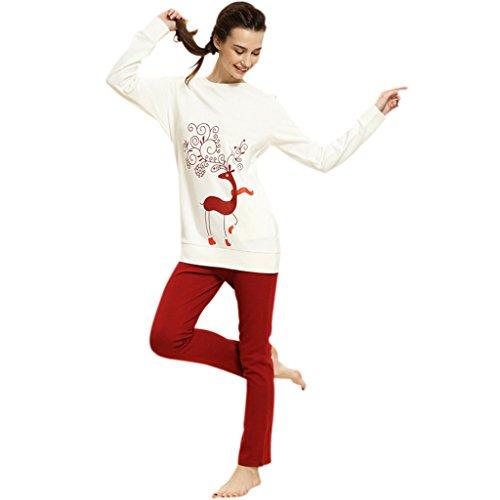 newest f234b a2553 GWELL Weihnachten Damen Winter Schlafanzug Set Zweiteiliger ...