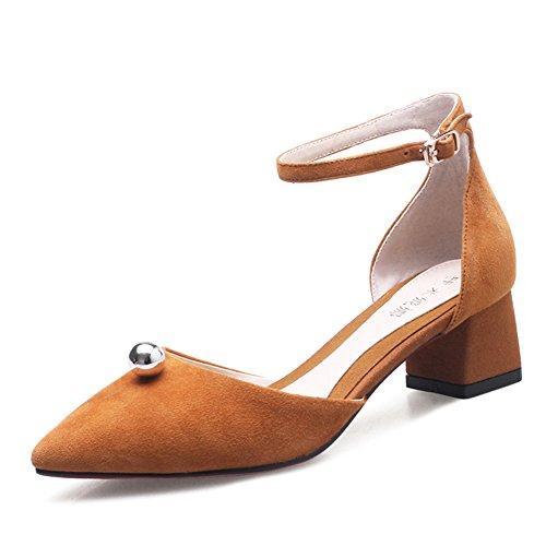 Versión Coreana Señaló Asakuchi Zapatos.Una Palabra Hebilla Damas Tacones/Zapatos. A