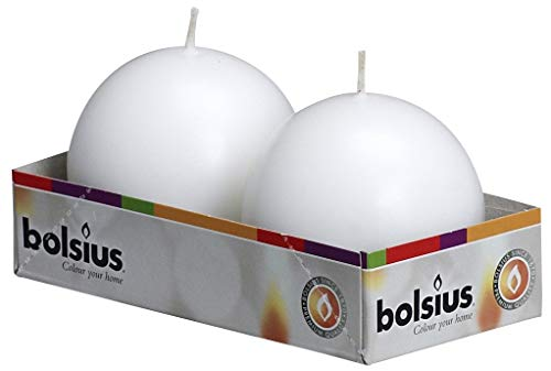 Bolsius Set of 2 White Ball Candles - 2.75 inch Unscented Candle Set - Dripless Clean Burning Smokeless Dinner Candle - Perfect for Wedding Candles, Parties and Special Occasions -  - living-room-decor, living-room, candles - 41klNEoUAAL -