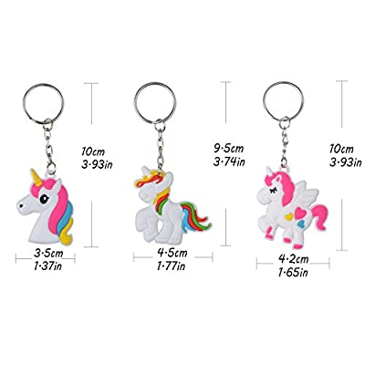 Rantanto 12 Pieces Unicorn Keychains Party Favors: Toys & Games