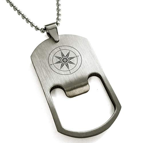Tioneer Stainless Steel Nautical Wind Compass Engraved Bottle Opener Dog Tag Pendant Necklace