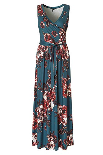 Zattcas Womens Bohemian Printed Wrap Bodice Sleeveless Crossover Maxi Dress,Teal,X-Large