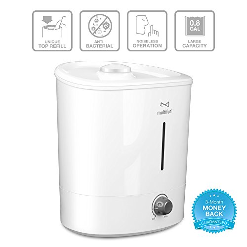 Ultrasonic Cool Mist Humidifier, multifun 3.1L/0.8GAL Large Capacity Air Humidifier Easy Topside Refill, Whisper-quiet Cool Mist Humidifier, Aroma Essential Oil Diffuser Anti-mold Easy to Clean