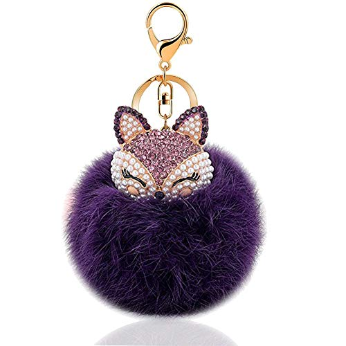 - Cute Genuine Rabbit Fur Ball Pom Pom with Fox Head Keychain for Car Key Ring Handbag Tote Bag Pendant (Purple)