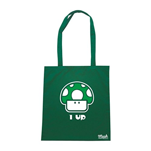Borsa 1 Up Super Mario Fungo - Verde Bottiglia - Games by Mush Dress Your Style