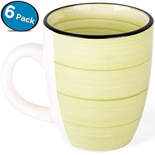 Green Coffee Mug Set - Hand Made Stoneware Ceramic - by LVKH (12.5 oz, 6 pieces)