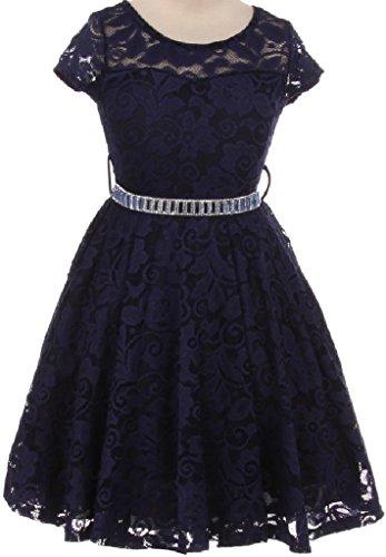 Price comparison product image Big Girl Cap Sleeve Lace Skater Stone Belt Flower Girls Dresses (19JK88S) Navy 12