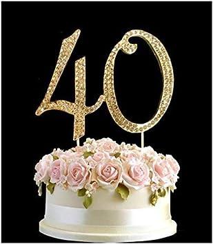 Rhinestone Crystal Birthday Cake Topper Number Pick 40th Diamante Gems Decoration