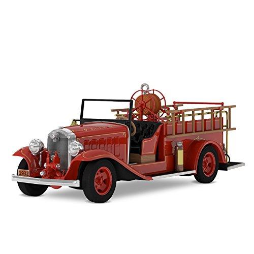 Hallmark Keepsake Christmas Ornament 2018 Year Dated, Fire Truck Brigade 1932 Buick Fire Engine With Light