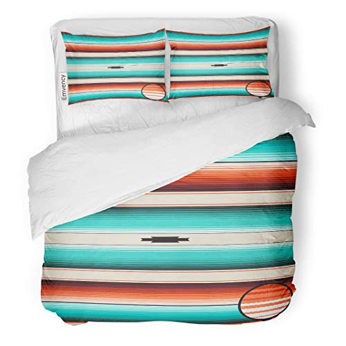 Semtomn Decor Duvet Cover Set Full/Queen Size Turquoise Orange Navajo White Stripes Pattern Mexican Serape Threads 3 Piece Brushed Microfiber Fabric Print Bedding Set Cover