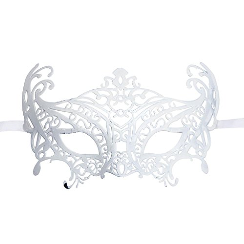 [LOVELYIVA NEW Fashion Venetian Hollow Masquerade Halloween Mask (White)] (Devil Girl Outfit)