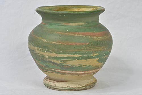 (Silver Springs Pottery 1930 Green Tan Small Swirl Vase Artist)
