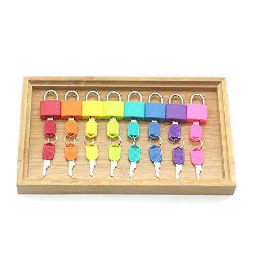 Zozu Wooden Montessori Tray Locks Set Educational Sensory Toys For Children Montessori Preschool Sensorial Materials Juguetes ML1344H (8 locks bamboo tray)