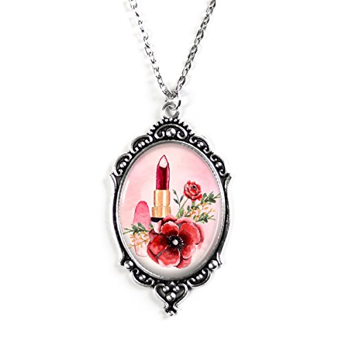 Project Pinup Lipstick and Pink Poppies Silver 30X40mm Cameo Filigree Necklace with 18