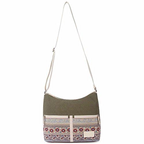 Daily Style Khaki Retro Messenger Women's Floral Bags Aassddff Crossbody Women Womens Canvas New Shoulder Bag Bag Travel Green T8wx8nXqPH