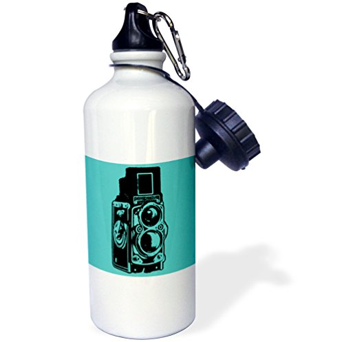 "3dRose wb_20708_1 ""Picture of a Vintage Twin Lens reflex TLR camera on cyan"" Sports Water Bottle, 21 oz, White"