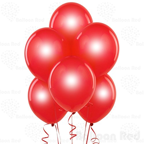 12 Inch Pearlized Latex Balloons (Premium Helium Quality), Pack of 144, Metallic Red