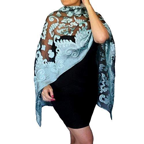 (Plus Size Blue Wedding Shawl Organza Aqua Wrap Black Evening Wear By ZiiCi)