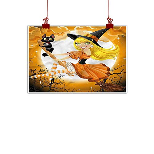 Anzhutwelve Fabric Cloth Rolled Halloween,Cute Witch 24