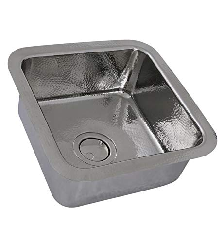 Nantucket Sinks SQRS-7 16.5'' Square Hammered Stainless Bar Sink In Polished