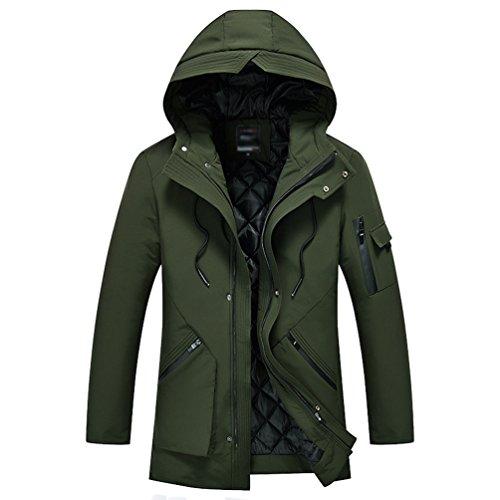 Verde Cappotto Addensare Caldo Grandi Parka Piumino Imbottito Lungo Militare Casuale Inverno Antivento Zhiyuanan Con Maschile Dimensioni Cappuccio Outwear UgH6Ux