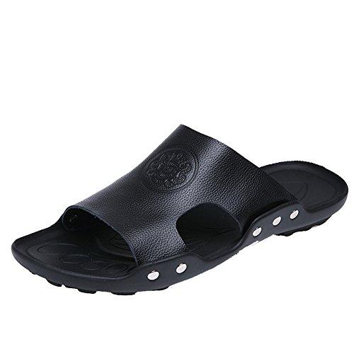 H&W Fashion Mens Outdoor Beach Sandals Slippers Anti-Skid Soles Black qtTQcQ