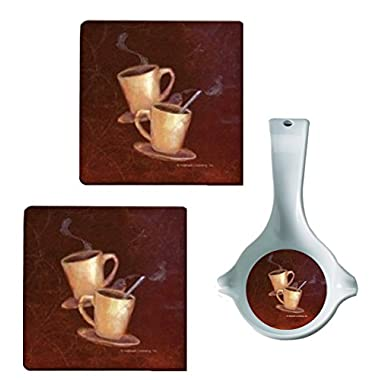 Hallmark Coffee Design by Range Kleen Spoon Rest & Set of 2 - 7 x 7 inch Trivets