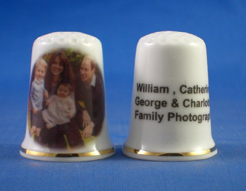 Porcelain China Collectable Thimble - William, Catherine, George & Charlotte Family Group - Free Gift Box Birchcroft China