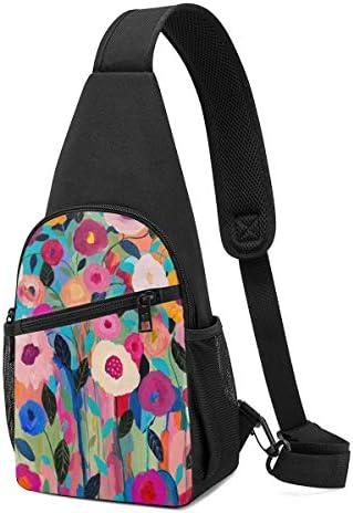 ボディ肩掛け 斜め掛け カラフルな花柄 ショルダーバッグ ワンショルダーバッグ メンズ 軽量 大容量 多機能レジャーバックパック