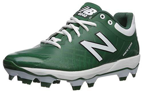 New Balance Men's 4040v5 Molded Baseball Shoe, Green/White, 12.5 2E US