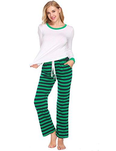 Striped Pants Pajama Flannel (Goldenfox Women's Cotton Nightwear Sets Long Sleeve Flannel Pajama Set Sleepwear (White2, Medium))