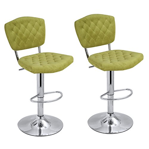 ELEGAN Modern Adjustable Swivel Bar Stools, Set of Two (Cream Metal Bench Garden)