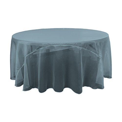 LA Linen Sheer Mirror Organza Round Tablecloth, 108'', Teal by LA Linen