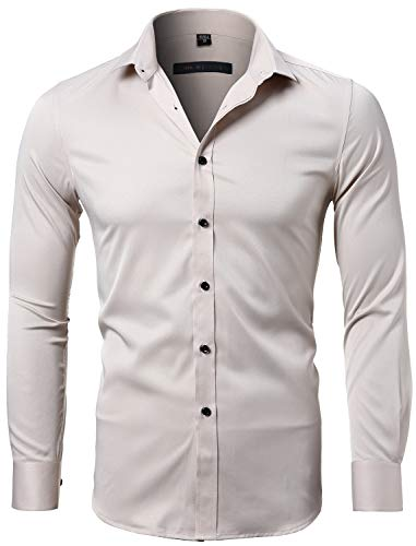 INFLATION Mens Dress Shirts Bamboo Fiber Slim Fit Long Sleeve Casual Button Down Shirts Wrinkle Free Dress Shirts for Men ()