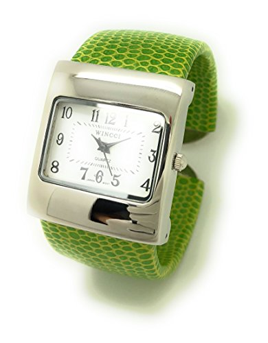 White Leather Cuff Watch - Ladies Snakeskin Leather Bangle Cuff Watch Square Case White Dial Wincci (Green)