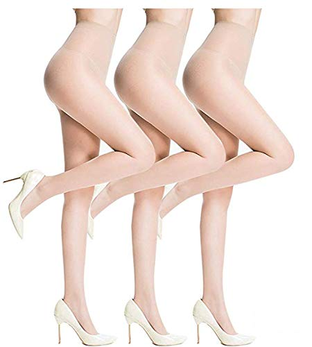 Sheer Pantyhose for Women Sheer Stockings 3 Pairs Durable and Comfortable Pantyhose Diy Cutting Tights socks with 15D (nude, M)]()