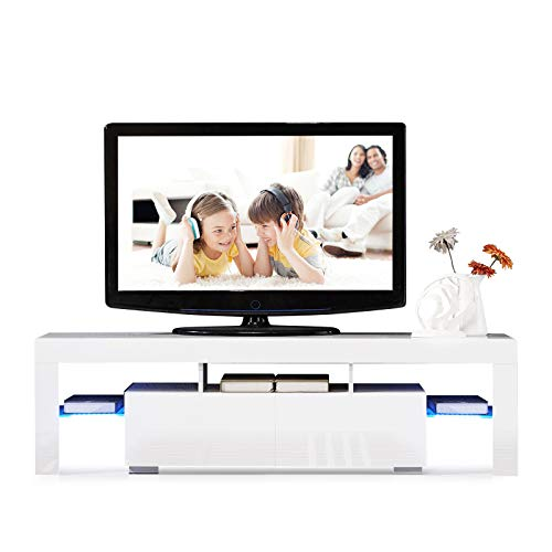 SUNCOO LED TV Stand Media Console Cabinet with 2 Drawers Living Room Storage High Gloss White Up to 63-inch TV Screens