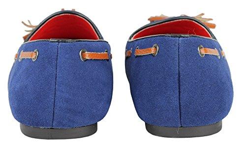 En cuir véritable pour homme avec pompon Bleu avant en daim Motif Loafers ons Chaussons-dérapant