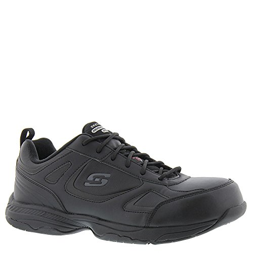 Skechers Men's Work Dighton Woodsboro Steel Toe Sneaker,Black Leather,8.5 EE (Leather Steel Toe Sneakers)