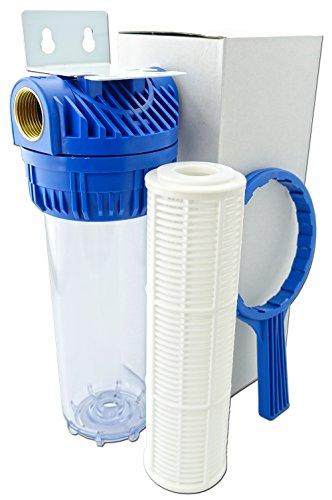 GPV-N. 10 Zoll Vorfilter für Hauswasserwerk, Garten Pumpen, Wasserfilter Anschlussgewinde IG-1 Zoll, Pumpenvorfilter Schmutzfilter Teichfilter Sandfilter, Wasserdurchfluss bis 6.000 l/h, Sieb Filtereinsatz 10 Zoll (1)