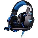 ARETOP® EACH G2000 Casque à Arceau Stéréo Basses Anti-bruit avec Lumière LED & Micro pour Jeu Ordinateur Bleu