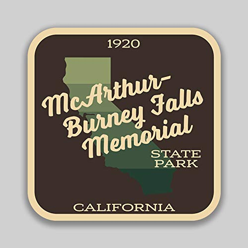 JMM Industries McArthur Burney Falls Memorial State Park California Vinyl Decal Sticker Car Window Bumper 2-Pack 4-Inches by 4-Inches Premium Quality UV Protective Laminate SPS640