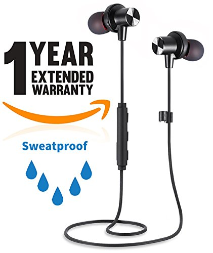 Bluetooth Headphones, Crazestar Sports Wireless Earphones with Mic In-Ear Earbuds Stereo Super Bass Sweatproof Noise Canceling Best Metal Magnetic Headset