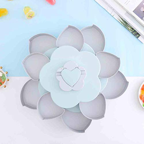 (LONG6ge Multi-function Double-layer rotating fruit plate petal shape dried fruit plate snack storage tray home living room candy dish dried fruit plate (Blue))