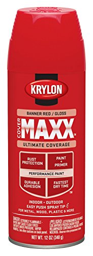 Krylon K09104000 COVERMAXX Spray Paint, Gloss Banner Red, 12 Ounce