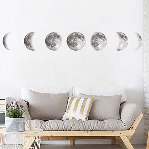 - Little Story Creative Color Moon Phase Map Space Moon Wall Sticker Home Decoration