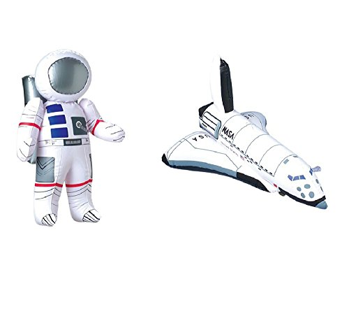 Outer Space PARTY DECORATIONS - Inflatable ASTRONAUT & SPACE SHUTTLE Inflate TOYS - BIRTHDY Party DECOR/Science-