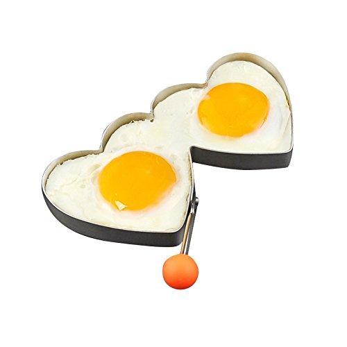 KEYUAN Stainless Steel Double Heart Egg Rings Fried Egg Molds Egg Shaper Egg Mould