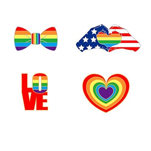 WINZIK LGBT Pride Lapel Pins Rainbow Lesbians Gay Bisexuals Enamel-liked Brooch Badges for Clothes Bag Decor, 4 Pcs/Set