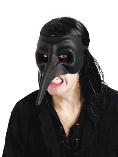 Fun World Men's Venetian Beak Matte Black Raven Mask, Standard ()